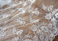 Off White Wedding Dress Tulle Lace Fabric , Embroidery Beaded Ivory Bridal Lace Fabric