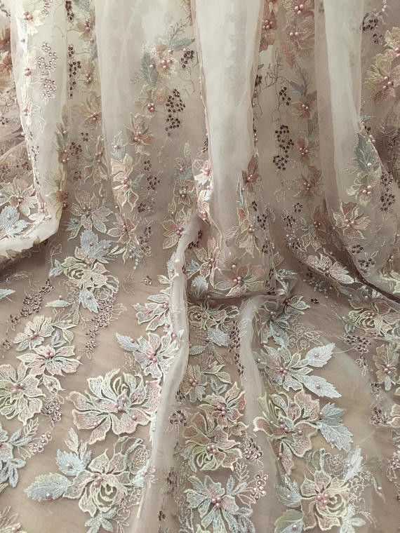 36 Inch Pearl Beaded Embroidery Lace Fabric By Yard For Haute Couture Wedding Gown