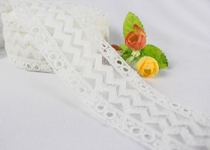 Durable Cotton Embroidery On Nylon Mesh Edging Lace Trim For Baby'S Dress Decorative