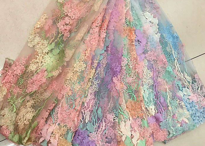3D Beaded Lace Fabric , Scalloped Multi Color Floral Embroidered Fabric For Skirt