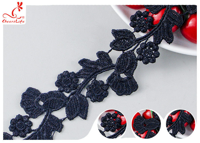 Black Floral Embroidery Edging Lace Trim Via Water Soluble With High Color Fastness Dye