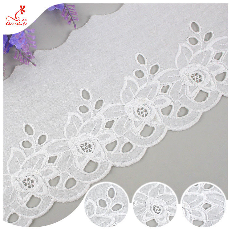 Cotton Netting Trim / Custom Embroidered Lace Trim By The Yard For Decoration