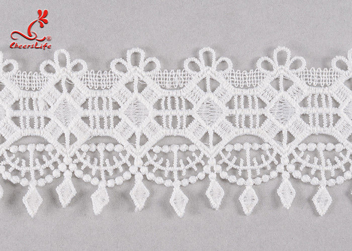 Fancy 5cm Fancy Water Soluble Flat Lace Trim With Embroidered Patterns For Clothing