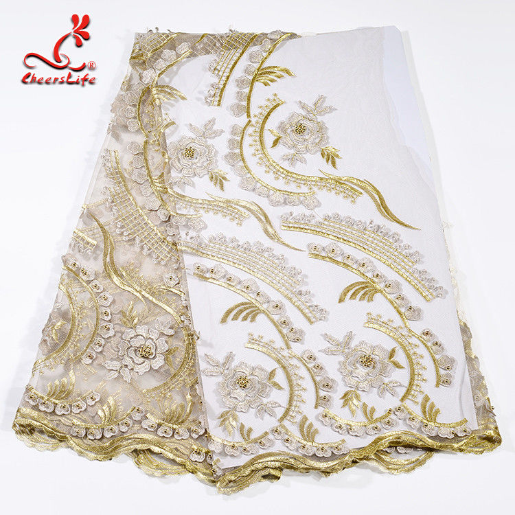 Heavy Tulle Beaded Embroidered Lace Fabric For Bridal Dress Azo Free Dyeing