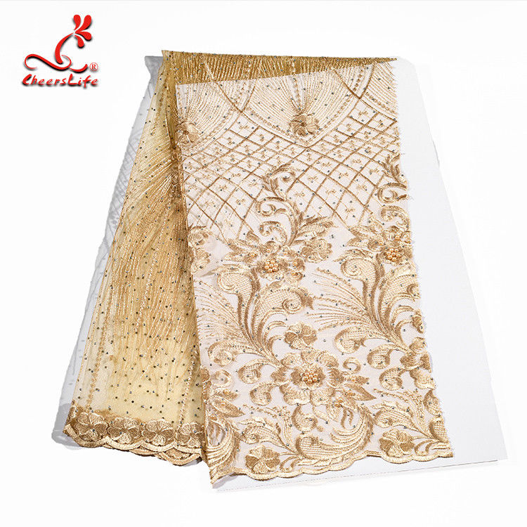 Colorful Beaded Embroidered Lace Fabric For Indian Sarees OEM ODM